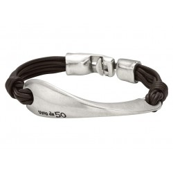 Semi rigid leather metal bracelet