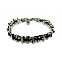 Silver grid chain leather bracelet