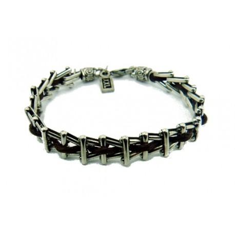 Silver grid chain leather bracelet