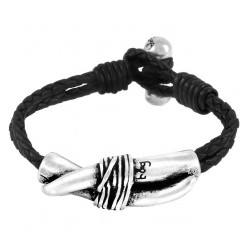 Bracelet cuir à croc argenté