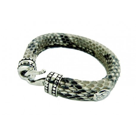 Genuine leather bracelet made of snake skin