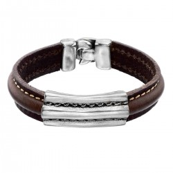 Leather bracelet with metal piece