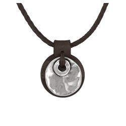 Leather necklace with a round medallion pendant