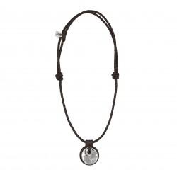 Collier cuir pendentif médallon rond